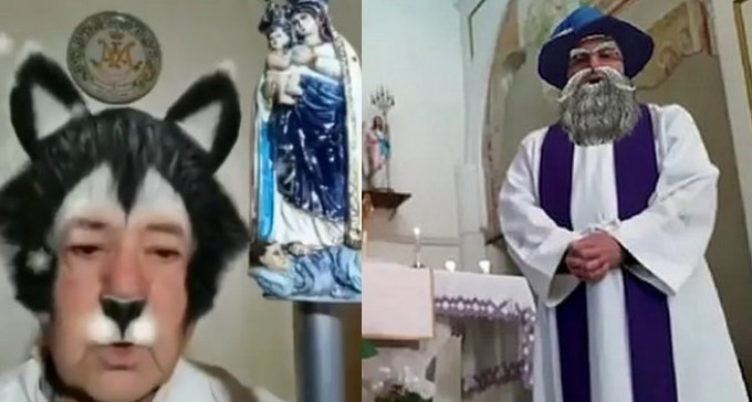 Włoscy księża nie umieją w internety: podczas mszy przez kamerkę włączyli filtry