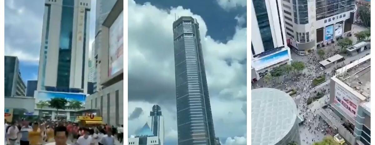 Made in China: drapacz chmur trzęsie się i przechyla